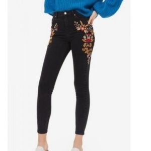 TopShop Skinny Jeans High Waist Ankle Embroidered